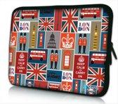 Sleevy 13.3 laptophoes Londen patroon - Laptop sleeve - Macbook hoes - beschermhoes