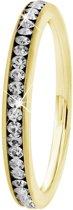 Lucardi - Stalen ring goldplated met kristal
