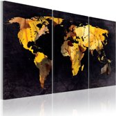 Canvas Schilderij - De Wereld kaart - drijfzand, Goud/Zwart, 2 Maten, 3luik