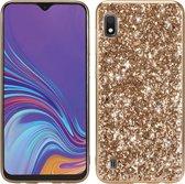 Let op type!! Glittery poeder schokbestendig TPU Case voor Galaxy A10 (goud)