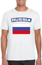 Rusland t-shirt met Russische vlag wit heren 2XL