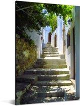 Prachtige trappen in de straten van de Oude stad van Rhodos Aluminium 120x180 cm - Foto print op Aluminium (metaal wanddecoratie) XXL / Groot formaat!