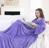 Isolerend Fleece deken Lila met mouwen, opbergzakken en voetenzak XXL 170 x 200 CM  van milieuvriendelijk materiaal inclusief tas / TV Deken / Knuffeldeken / Bedovertrek / Woondeken / Warmte deken.