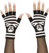 Vingerloze handschoenen met doodshoofd - Verkleedattribuut