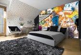 Fotobehang Graffiti | Oranje, Blauw | 152,5x104cm