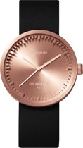 LEFF amsterdam - Horloge - Tube Watch D38 - Rosé met Zwart leren band -  Ø 38mm - LT71031