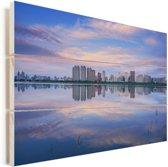 Skyline van de Chinese stad Harbin Vurenhout met planken 120x80 cm - Foto print op Hout (Wanddecoratie)