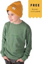 Move. sweater Rubber Logo Green + gratis boxershort Maat: 140 ( 10 jaar)