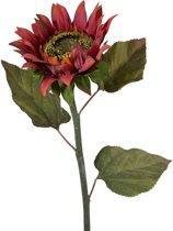 Viv! Home Luxuries - Zonnebloem - zijden bloem - donker rood - topkwaliteit