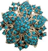 Broche bloem turquoise