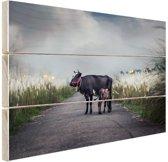 Koe met kalf Hout 120x80 cm - Foto print op Hout (Wanddecoratie)