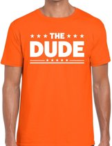The Dude tekst t-shirt oranje heren - heren shirt The Dude - oranje kleding 2XL