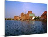 Uitzicht op de gebouwen in de Duitse stad Duisburg Aluminium 160x120 cm - Foto print op Aluminium (metaal wanddecoratie) XXL / Groot formaat!