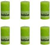 Bolsius Stompkaars 130/68 rustiek Lemongroen (per 6 stuks)