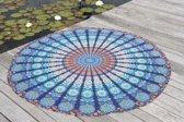 Bohemida Roundie - XL Blue Paradise - Strandlaken - 100 % Duurzaam Katoen