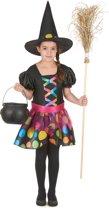 Kleurrijk heksenkostuum voor meisjes - Maat 122/128