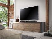 Meubella - TV-Meubel Monaco - Grijs - Eiken - 4 deuren - 170 cm