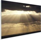 Zonnestralen schijnen door de stormachtige wolken in Noorwegen Plexiglas 180x120 cm - Foto print op Glas (Plexiglas wanddecoratie) XXL / Groot formaat!