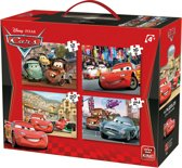 Disney 4 in 1 Puzzel Cars - Vier Kinderpuzzels in een Koffertje - King