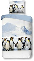 Snoozing Pinguins - Dekbedovertrek - Eenpersoons - 140x200/220 cm + 1 kussensloop 60x70 cm - Multi kleur
