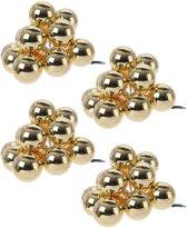 40x Mini glazen kerstballen kerststekers/instekertjes goud 2 cm - Gouden kerststukjes kerstversieringen glas