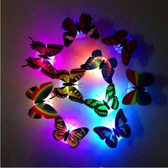 10x LED Vlinder Stickers - Muurstickers met 7 Kleuren Autoroterende Verlichting - Vlinders VOORDEELPAKKET 10 Stuks