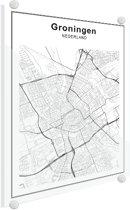 Stadskaart - Groningen Plexiglas 100x140 cm - Plattegrond