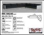 RHS300240rechts Asymmetrische hoes voor hoekbank 300 x 240 x 100 H: 70 cm taupe