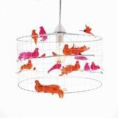 Hanglamp met vogeltjes-Oranje-Roze-Woonkamer-Hal-Kantoor-Ø40cm.