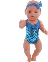 7eba348211c504 Blauw Zeemeermin badpak voor poppen met een lengte van 40-45 cm zoals Baby  Born