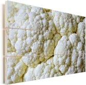 Een close-up van verschillende bloemkolen Vurenhout met planken 90x60 cm - Foto print op Hout (Wanddecoratie)