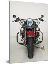 Rode motorfiets op een witte achtergrond Aluminium 120x180 cm - Foto print op Aluminium (metaal wanddecoratie) XXL / Groot formaat!