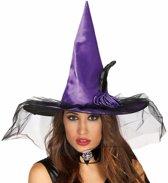 Halloween - Paarse heksenhoed met bloem