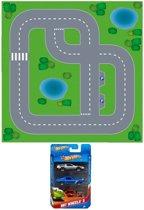 Speelgoed stratenplan wegplaten dorpje set karton met auto speelsetje - Kartonnen DIY wegen speelkleed