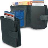 Old West Portemonnee - Creditcardhouder - Slim Wallet - RFID - 9 Pasjes - Leer - Marineblauw