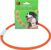 Halsband LED tube verstelbaar 20-70 cm oranje, USB oplaadbaar.