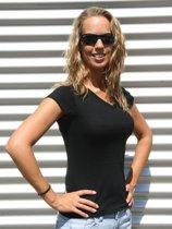 Dames t-shirt  V-hals zwart 38 (M)