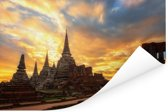 Vurige zonsondergang in Ayutthaya Poster 180x120 cm - Foto print op Poster (wanddecoratie woonkamer / slaapkamer) XXL / Groot formaat!