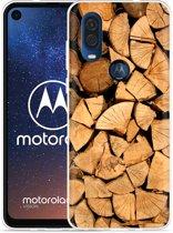 Motorola One Vision Hoesje Houtblokken