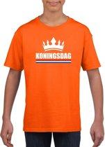Oranje Koningsdag met een kroon shirt kinderen - Oranje Koningsdag kleding M (134-140)