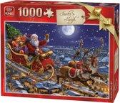 King Puzzel 1000 Stukjes (68 x 49 cm) - Santa Sleigh - Kerstpuzzel