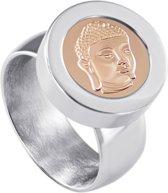 Quiges RVS Schroefsysteem Ring Zilverkleurig Glans 17mm met Verwisselbare Rosé Boeddha 12mm Mini Munt