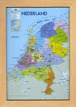 Nederland poster kaart met fotolijst beukenkleur-poster-Formaat  A3-29.7x42cm.-inclusief lijst Aanbieding