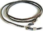 Brillenkoordje - plat gevlochten rundleer - donkerbruin - 3 mm - zilverkleurige bevestiging