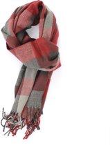 Zachte rood grijze sjaal met blokken design - Luxe acryl sjaal voor heren