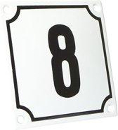 Emaille huisnummer wit/zwart nr. 8 10x10cm