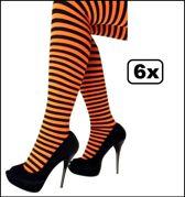 6x Panty streep oranje/zwart