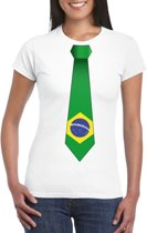 Wit t-shirt met Brazilie vlag stropdas dames L