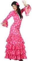 Spaanse flamencodanseres jurk roze verkleed kostuum  voor dames M/L (38-40)