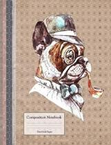 Composition Book with Dot Grid Paper: Sherlock Bulldog